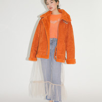 Faux Fur-Trimmed Belted Collar Jacket