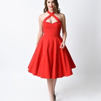 Collectif 1950s Style Red Penny Halter Flare Dress