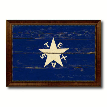 Texas History Lorenzo De Zavala Military Flag Vintage Canvas Print with Brown Picture Frame Gifts Ideas Home Decor Wall Art Decoration