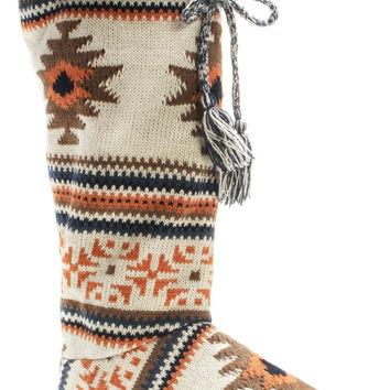 Muk Luks Grace Tall Tie Women's Knit Sweater Boots Slippers
