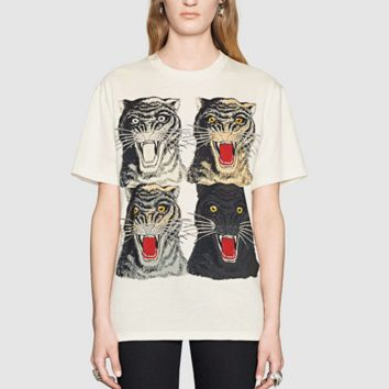 Fashion print four tiger head pure cotton blouse T-shirt