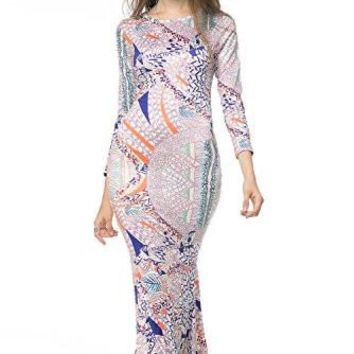 Sexy Womens Vintage Long Sleeve Bodycon Evening Gown Mermaid Maxi Dress(m,multicoloured)