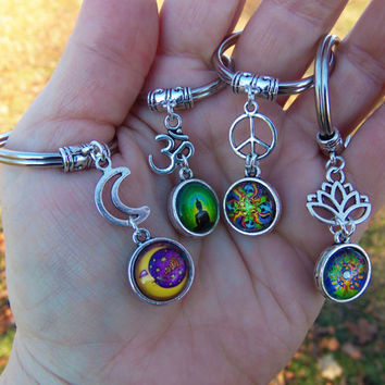 Keychains, lotus keychain, peace sign keychain, om keychain, moon keychain, ONE of each available, keyring, key ring, stocking stuffers