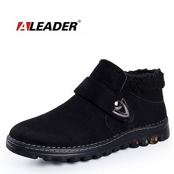 Aleader Winter Snow Men Boots Warm Suede Leather Shoes Men Casual Cotton Fur Rubber Boots Ankle Men Work Booties Home Fur Shoes