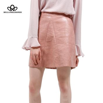 Bella Philosophy spring new PU faux leather skirt women high waist skirt pink yellow black back zipper pocket mini skrit
