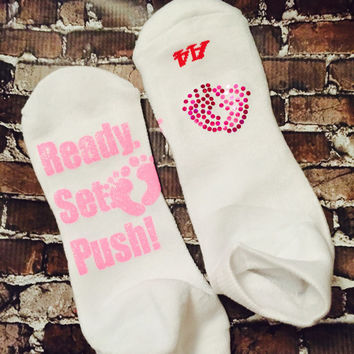 Ready to Push labor and delivery socks in any color with spangle feet on top of sock