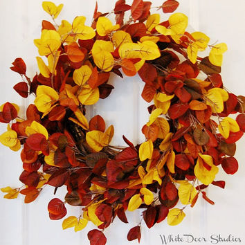Fall Leaves Wreath, Front Door Wreath, Autumn Wreath, Yellow Red Orange Leaf Wreath