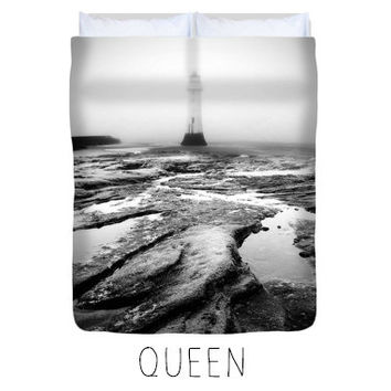 Lighthouse duvet, lighthouse comforter, black and white, lighthouse decor,art bedroom decor, art duvet, art comforter,monochrome, minimalist