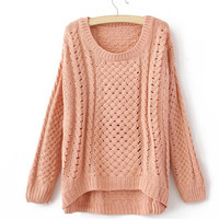 ROUND COLLAR Cute show thin SWEATER for girls