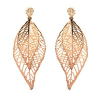 Rose-gold Tone Double Dried Leaf Cubic Zirconia Dangle Earrings