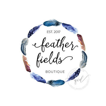 Premade Feather Logo, circle feather branding, boho marketing kit, fashion logo, bohemian logo design, hippy invitation wedding logo