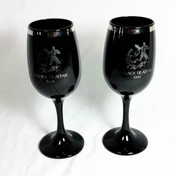 A Black Tie Affair 1995 Wine glasses/Silver and Black 90s Glasses (Lot of 2)