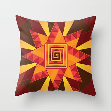 ART DECO GEOMETRIC SUN DESIGN Throw Pillow by AEJ Design
