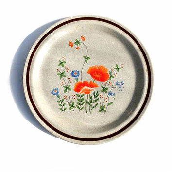 Vintage Haniwa Stoneware Chop Platter MAYWOOD 3401 Round Serving Platter Cottage Chic Orange Poppies Oven to Table Japan