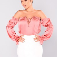 In My Element Ruffle Top - Salmon