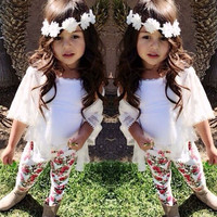 toddler girl clothing New Baby Girls Summer Short Sleeve Coat+Vest T-Shirt+Pants Outfits Set baby girl clothes vetement fille