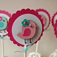 Baby Bird Birthday Party Cupcake Toppers (set of 12)
