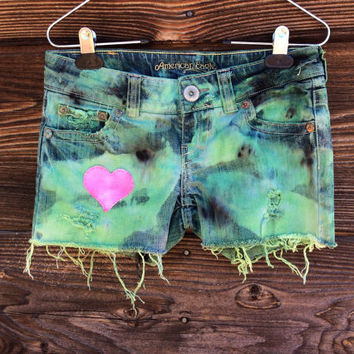 Camo Distressed Denim Shorts - Hand Dyed - Size 2 - with Cute Pink Heart Patch