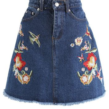 Full of Vitality Embroidered Denim Bud Skirt
