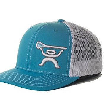 HUKi Lacrosse Men's Trucker Hat, Adjustable Snapback (cyan blue)