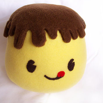Giga Puddi, Pudding Meme, Fleece Japanese Kawaii Food Plush Toy for Children or Kids at Heart. GREAT Valentines Gift!