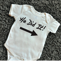 He Did It Shirt Twins Brothers Twin Matching Set of 2 Twin Shirts He Did It Twin Bodysuits Baby Boy Clothes 069