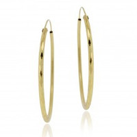 18K Gold Plated Brass 60mm Hammered Hoop Earrings