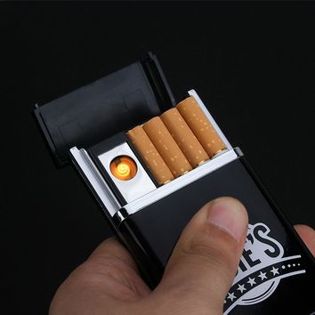 Multifunctional Black Cigarette Case with Electronic lighter