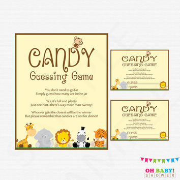 Candy Guessing Game, Safari Baby Shower, Guess How Many Candies, Printable Baby Shower Games, Instant Download, Jungle Baby Shower, BS0001-N