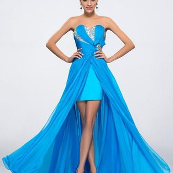 Trendy Beaded Ruched Split Front Blue Chiffon Long Prom Dres I029