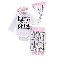 Kids boys autumn style infant clothes baby clothing sets girls Cotton romper+pants+hat +headband 4pc ssuit baby clothes