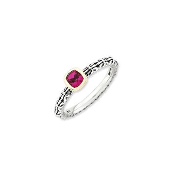 Sterling Silver & 14K Yellow Gold Accent Created Ruby Stackable Ring