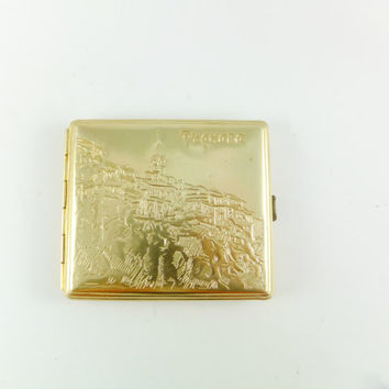 Vintage LIttle Cigarette Case /Soviet Metal Cigarette Case Golden Tone - Unique Original Gift Idea Business Card