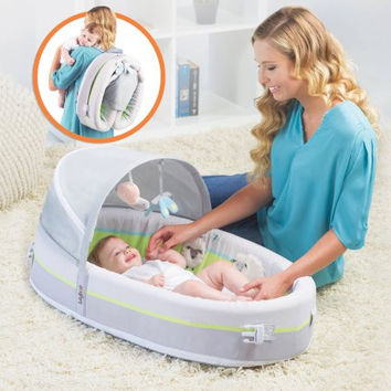 Baby Portable Travel Bed Crib Bassinet Backpack Changing Station with Activity Bar Toys