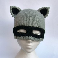 Raccoon hat knit racoon balaclava animal ears beanie by jarg0n