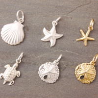 Add On Charms - small charms, starfish charm, turtle charm, shell charm, sand dollar charm, sterling silver, gold filled