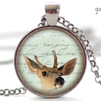 Baby Deer Necklace, Fawn Pendant, Woodland Animal Pendant (1696)