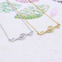 Sideway treble clef  necklace in  silver or gold tone