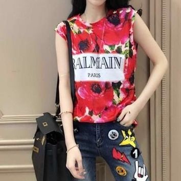 balmain fashion flower letter print sleeveless vest women buttons decoration t shirt tops