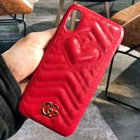 GUCCI Fashion New Love Heart Leather Women Men Protective Case Phone Case Red