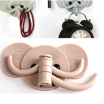 Cute Elephant Wall Hook 3 Catch Rotating Door Hook Strong Sticky Kitchen Holder Tie Wallet Key Stand