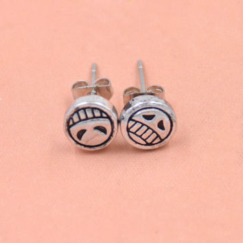 1 Pair Hot Japan Anime One Piece Portgas D Ace Stud Earrings Cosplay Luffy