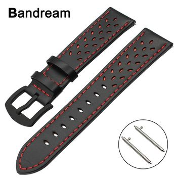 20mm 22mm Trefoil Genuine Leather Watchband for Luminox Tissot Hamilton Mido Longines Quick Release Watch Band Steel Clasp Strap