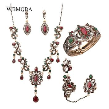 4Pcs/lot Boho Turkish Jewelry Sets Vintage Red Necklace Bracelet Earrings Ring Set Indian Crystal Antique Gold Wedding Jewellery