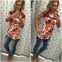 Floral Block Top: Ivory