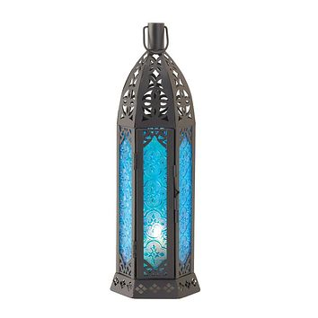 Tall Vibrant Blue Candle Lantern