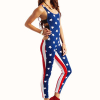 american flag cut out jumpsuit