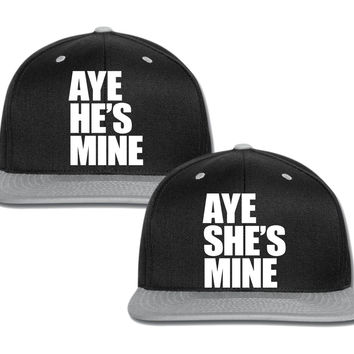 aye he is mine aye she is mine couple matching snapback cap