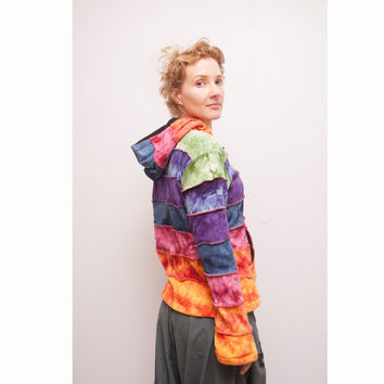Rainbow Patchwork Jacket - Pixie - Hippie - Men - Women - Pointed Hood - Polar Lining - Warm - Fleece Lined- Rainbow Clothing