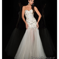 (PRE-ORDER) Tony Bowls 2014 Prom Dresses - Champagne Illusion Mermaid Silhouette Prom Gown